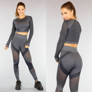NEW0710 Dunkelgrau Langarm-Sport-Set mit See Through Stripes