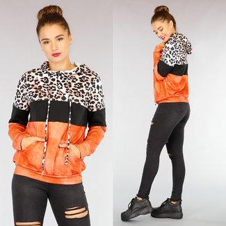 NEW0710 Orange lässige Tie Dye Hoodie mit Leopard-Druck