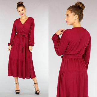 NEW0710 Wein-Rot-Maxi-Kleid mit Wrap