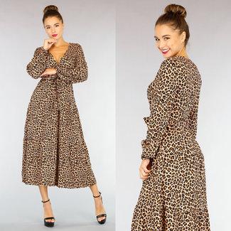 NEW0710 Leopard-Druck-Maxi-Kleid mit Wrap