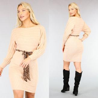 NEW1410 Beige Strickjacke-Kleid mit Gürtel