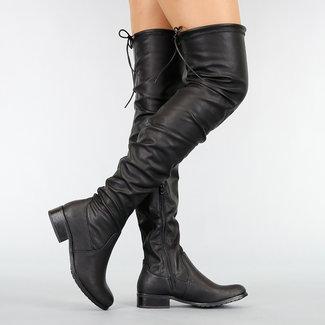 NEW1410 Schwarz-Leder-Blick-Schenkel-hohe Stiefel
