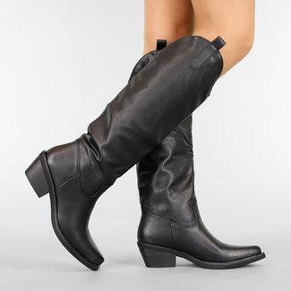 NEW1410 Basic Black-Leder-Blick-Cowboystiefel