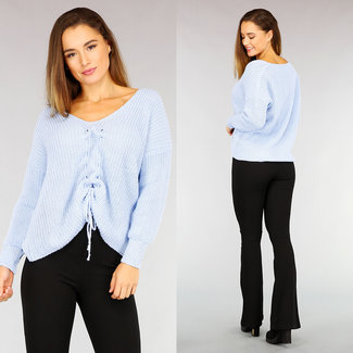 NEW2110 Light Blue gestrickte Lose Fit Pullover mit Spitze