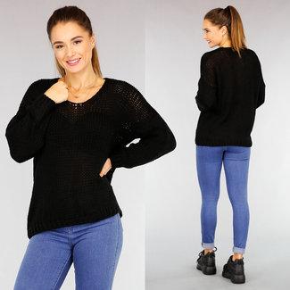 NEW2110 Grund Gehäkelte schwarze Pullover