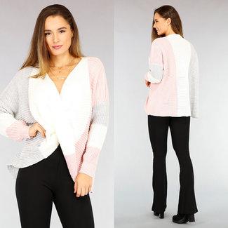 NEW2110 Asymmetrisch drapierter Neck Sweater