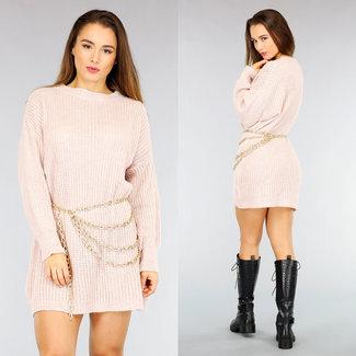 NEW2110 Altrosa Maxi-gestrickten Pullover Kleid