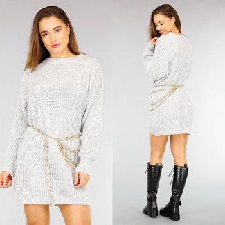 NEW2110 Grau Maxi-gestrickte Pullover Kleid