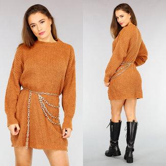 NEW2110 Cognac Maxi-gestrickten Pullover Kleid