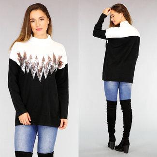 NEW2110 Schwarz / Weiß Pullover mit Pailletten