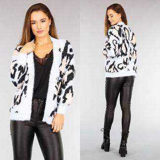 NEW2110 Licht Leopard Strickjacke Taschen