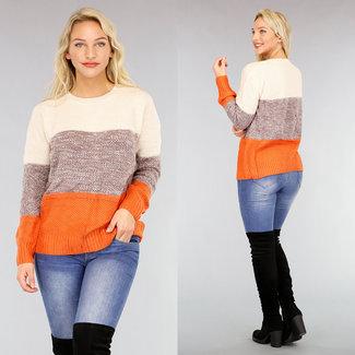 NEW2810 Orange Lose Fit Pullover mit Streifen