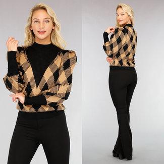 NEW2810 Fudge Checkered Sweater Pofschouders