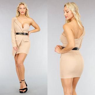 NEW2810 Sexy Beige V-Form-Blazer-Kleid mit Gürtel