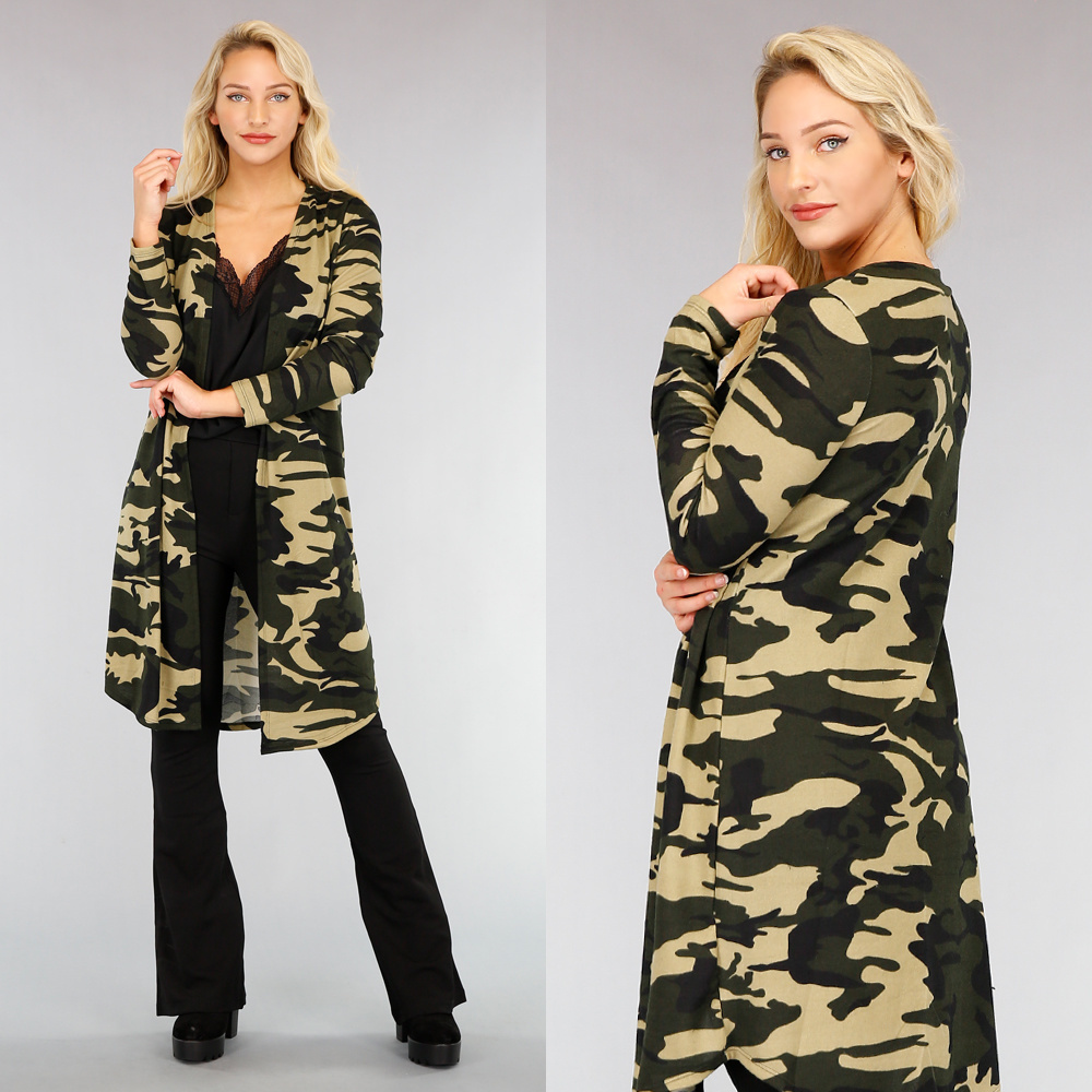 lange camouflage-jacke
