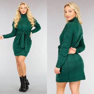 NEW2810 Grüne Pullover Kleid mit Knopfleiste