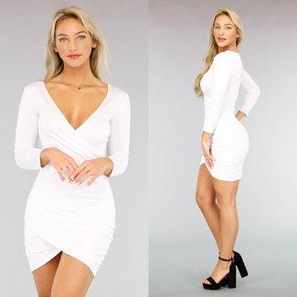 NEW1111 Sexy Weiß, figurbetontes Kleid mit Wrap