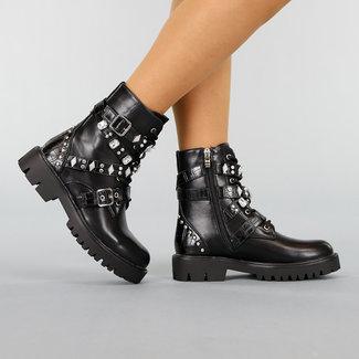 NEW0411 Black Lace Boots mit Nieten und Schnallen