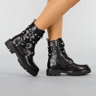 NEW0411 Schwarz-Leder-Look Stiefel mit bordierter
