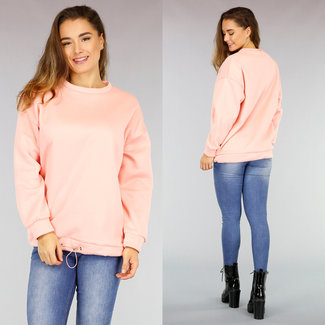 NEW0411 Halblanger Pullover mit lockerer Passform in Rosa