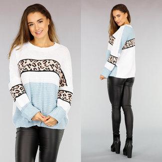 NEW0411 Gehäkelter Oversized-Pullover mit Leopardenmuster in Blau