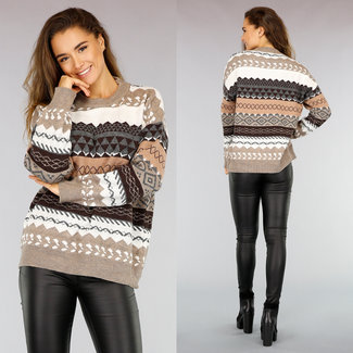 NEW0411 Aztec-Pullover mit lockerer Passform in Taupe