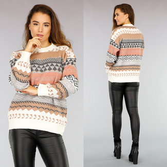 NEW0411 Weißer Aztec-Pullover mit lockerer Passform