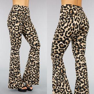 NEW0411 Beige Leopard Flair Hose mit breiten Rohren