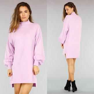 NEW0411 Bequeme lila Kleid mit Puffärmeln und Pullover mit Stehkragen