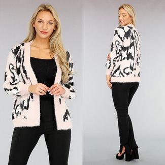 NEW1111 Powder Pink Leopard Strickjacke Taschen