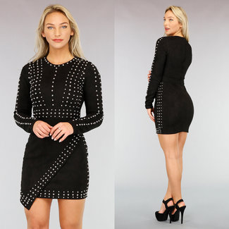 NEW1111 Kleid in Wildlederoptik mit Nieten in Schwarz