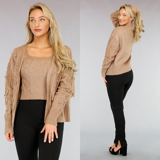 NEW1111 Taupe Knit Cable Weste Short Top