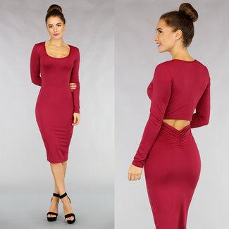 NEW1811 Figurbetontes Kleid mit Aussparung in Weinrot