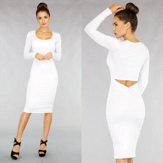 NEW1811 Figurbetontes Kleid mit Aussparung in Weiß