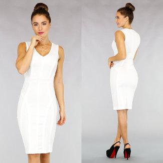 NEW1811 Bandage-Midi-Kleid in Weiß