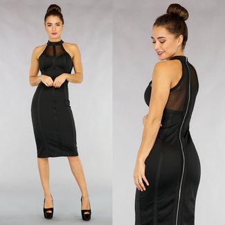 Midi-Kleid mit Reißverschluss und Mesh in Schwarz