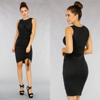 NEW1811 Schwarz Plissee-Kleid mit Spitze