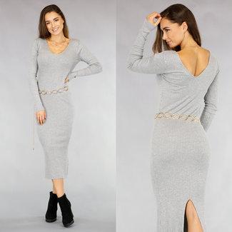 NEW2511 Langes graues Kord-Kleid mit V-Ausschnitt