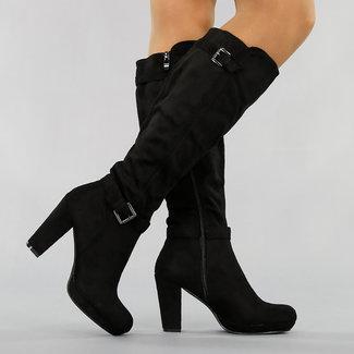 NEW2511 Black Suede-Look Stiefel mit Riemchen