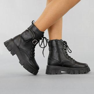 NEW2511 Schwarze Biker-Stiefel mit Tasche