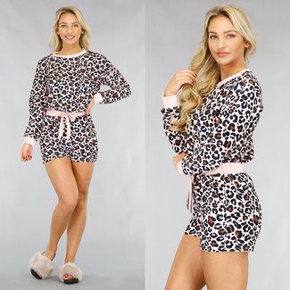 NEW1612 Samt-Schlafanzug mit Leopard-Aufdruck in Rosa