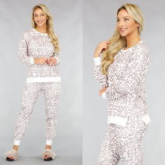 NEW1612 Schlafanzug mit Leopardenmuster in Weiß