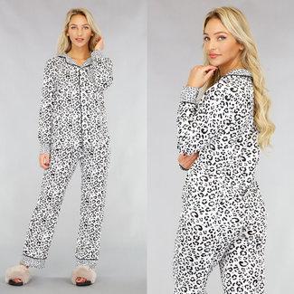 NEW1612 Leopard-Schlafanzug mit Knöpfen