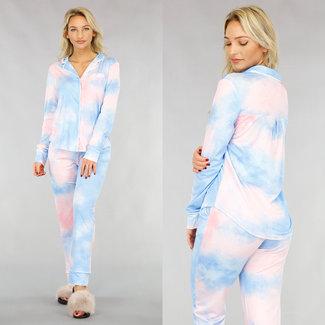 NEW1612 Tie dye-Schlafanzug mit Knöpfen