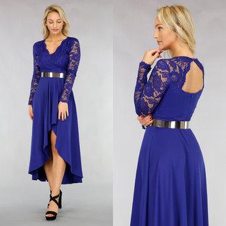 NEW1612 Asymmetrisches Kleid mit Spitzenoverlay oben in Blau