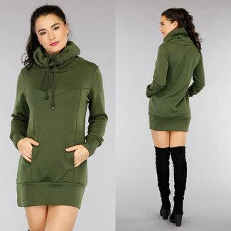 NEW1301 Bequemer Grün Hoodie Kleid mit Col