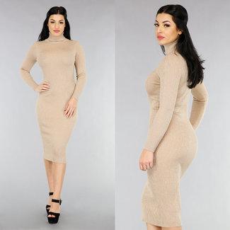 NEW1301 Beige Glitter Kleid mit Col