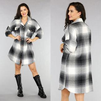 NEW1301 Schwarz Lang Tweed Bluse Kleid