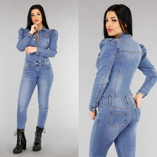 NEW1301 Stonewashed Jeans-Jumpsuit mit Puffschultern in Hellblau