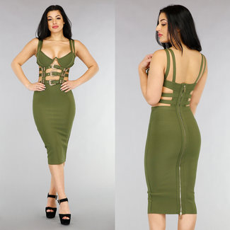 NEW1301 Grün V-Form-Verband-Kleid mit Schnallen